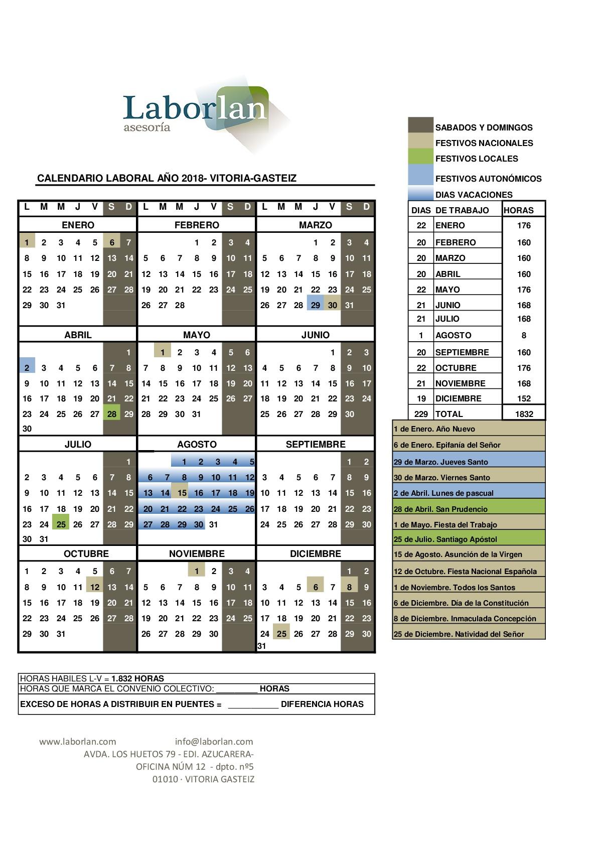 Calendario Laboral De La Construccion.Calendario Laboral 2018 Vitoria Gasteiz Laborlan Asesoria